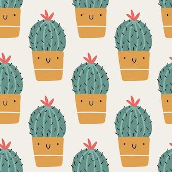 Śliczne doniczki z kaktusami. wektor wzór. śmieszne twarze się uśmiechają. modny ręcznie rysowane skandynawski styl doodle kreskówka. minimalistyczna pastelowa paleta. idealny do tekstyliów dziecięcych, tkanin, odzieży.
