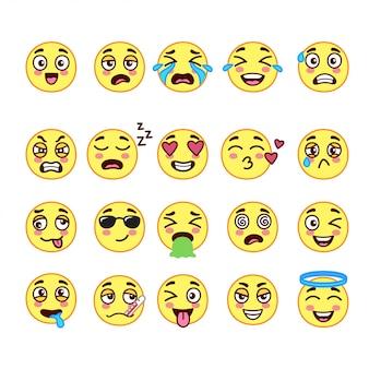 Śliczne doodle emoji