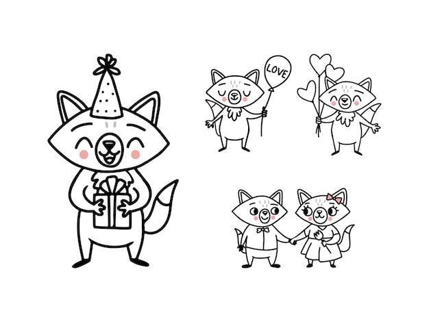 Śliczne doodle lisy wektor z balonów serca, pudełko, bukiet i zakochana para
