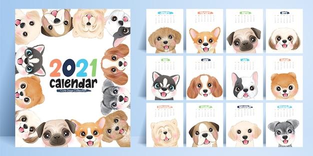 Śliczne Doodle Psy Kalendarz Do Kolekcji Roku Premium Wektorów