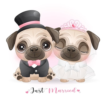 Śliczne Doodle Psy Z Ubraniami ślubnymi, Właśnie żonaty Premium Wektorów