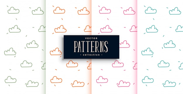 Śliczne doodle styl chmury wzory zestaw czterech