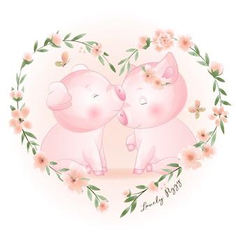 Śliczne doodle świnka z ilustracja kwiatowy