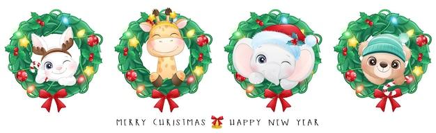 Śliczne doodle zwierząt na boże narodzenie z akwarela ilustracja