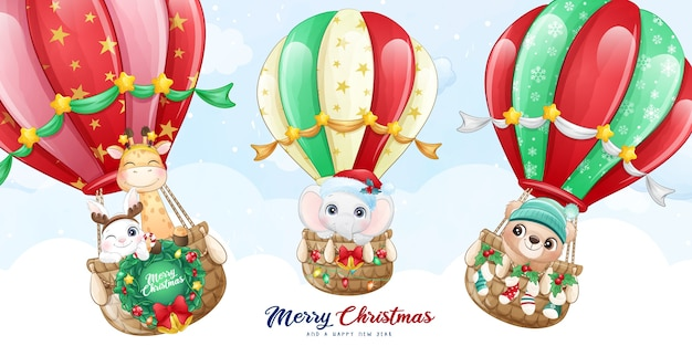 Śliczne doodle zwierzęta latające z balonem ilustracja