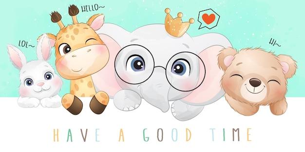 Śliczne doodle zwierzęta z akwarela ilustracja
