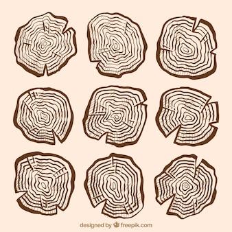 Śliczne drewniane znaki ręcznie rysowane