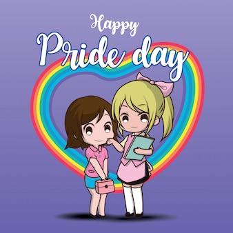 Śliczne dwa lesbijskie postacie z kreskówek. szczęśliwy dzień dumy.