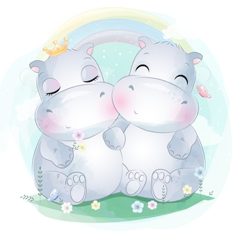 Śliczne dwa małe hipopotamy