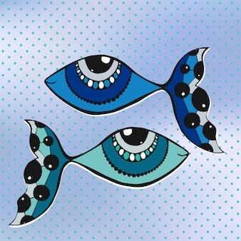 Śliczne dwie ryby kreskówka, grafika liniowa, doodle na tle brulled i polka dot. ilustracji wektorowych