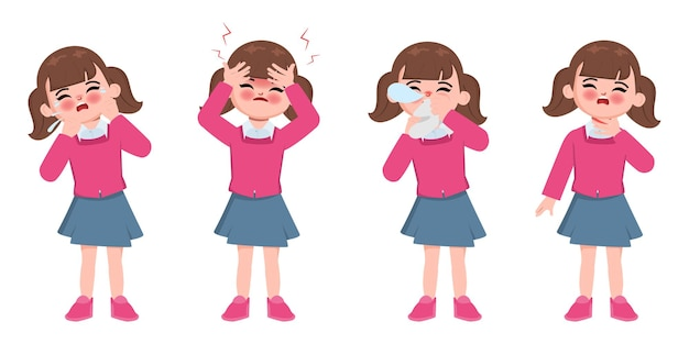 Śliczne Dzieci Animacji Chore Z Objawami Dyskomfortu Premium Wektorów