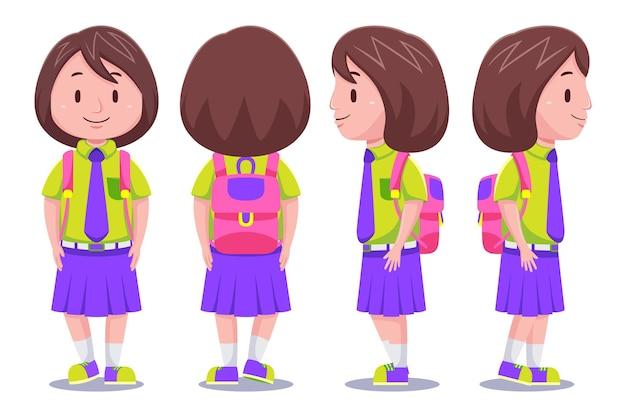 Śliczne dzieci dziewczyna postać studenta w różnych pozach, niosąc plecak.
