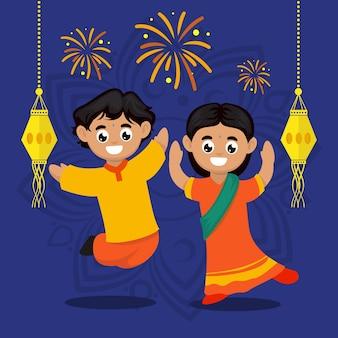 Śliczne dzieci para z ilustracją postaci motywu festiwalu diwali india