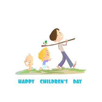 Śliczne dzieci w tle dzień