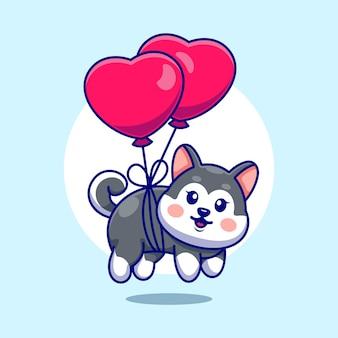 Śliczne dziecko husky pływające z balonem w kształcie serca