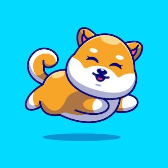 Śliczne dziecko shiba inu pies działa kreskówka