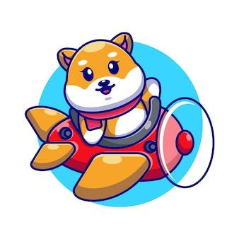 Śliczne dziecko shiba inu pies jazdy samolot kreskówka