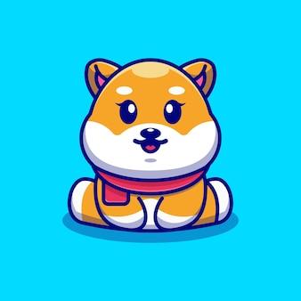 Śliczne dziecko shiba inu pies siedzi ilustracja kreskówka