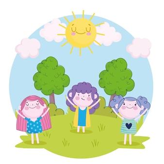 Śliczne dziewczyny i chłopiec stojący w kreskówce trawy, ilustracja dzieci