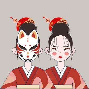 Śliczne dziewczyny japonii z tradycyjnym kostiumem i ilustracją maski.