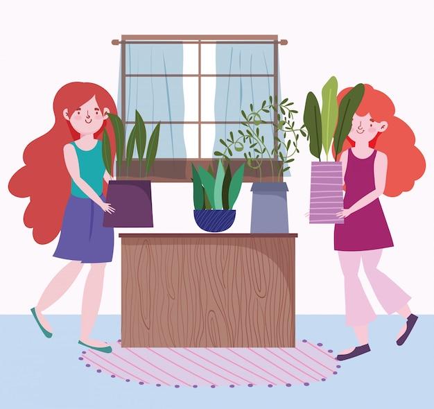 Śliczne dziewczyny trzyma doniczkowego rośliny ogrodnictwo w domowej kreskówce