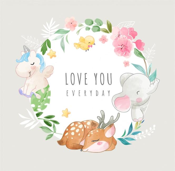 Śliczne dzikie zwierzęta i kolorowe kwiaty w ilustracji ramki koło