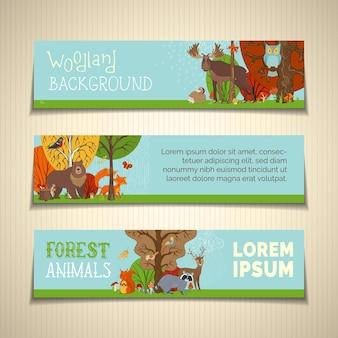 Śliczne dzikie zwierzęta i ptaki między jesiennymi drzewami. lis, łoś, jeleń, niedźwiedź, wiewiórka, szop, jeż, sowa i inne. drzewa, trawa i grzyby.