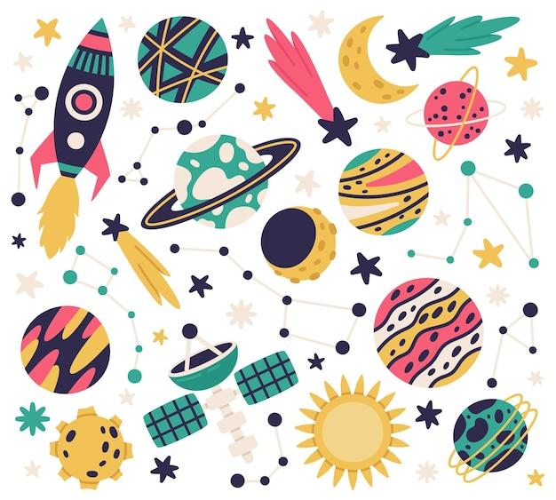 Śliczne elementy galaktyki kosmicznej statek kosmiczny planety kometa i gwiazdy kreskówka wektor zestaw ilustracji