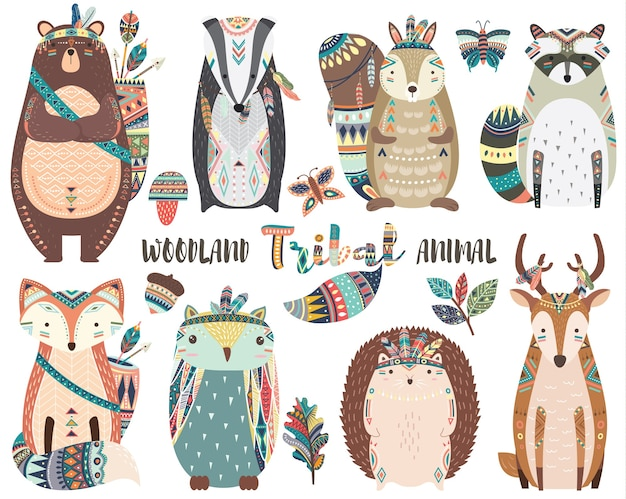 Śliczne elementy plemiennych zwierząt leśnych