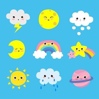 Śliczne elementy pogodowe zestaw w stylu kreskówki izolowane premium wektorów