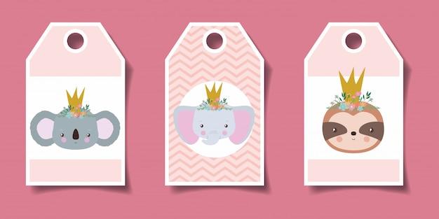Śliczne etykiety z kreskówkami zwierząt