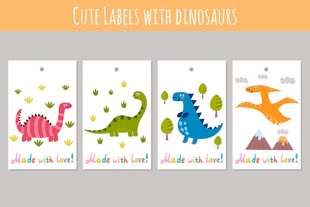 Śliczne etykiety z zabawnymi dinozaurami. wykonane z naklejkami miłosnymi