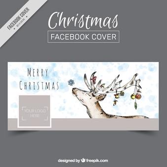 Śliczne facebook pokrywa z akwareli reniferów