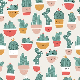 Śliczne garnki z kaktusami i sukulentami. wektor wzór. śmieszne twarze się uśmiechają. modny ręcznie rysowane skandynawski styl doodle kreskówka. minimalistyczna pastelowa paleta. do tekstyliów dziecięcych, odzieży.