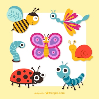 Śliczne grafiki owady wektor cartoon