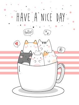 Śliczne grube koty siedzi w filiżance kreskówki doodle