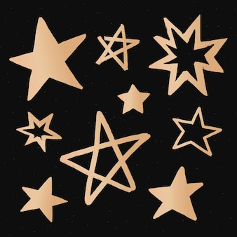 Śliczne gwiazdki złota galaktyka doodle naklejka ilustracyjna