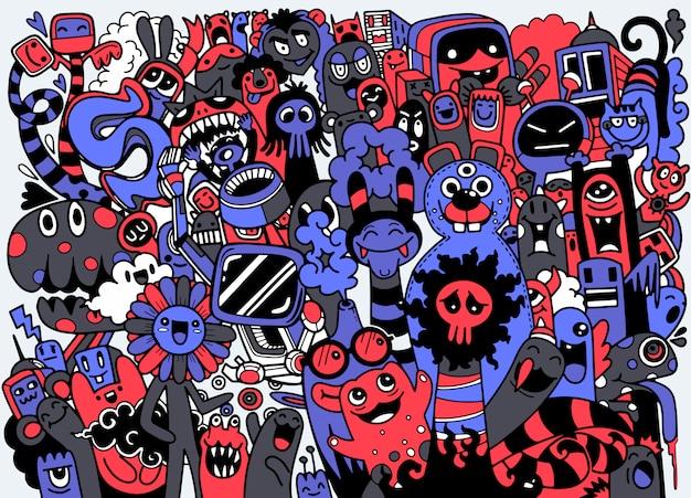 Śliczne halloweenowe potwory ustawiają tło