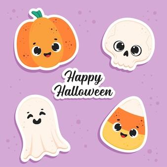 Śliczne happy halloween naklejki wektor