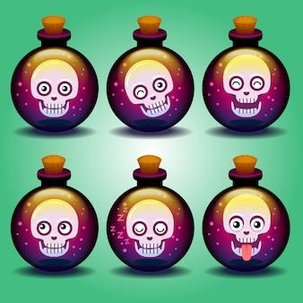 Śliczne horrory emotikony czaszki w butelce
