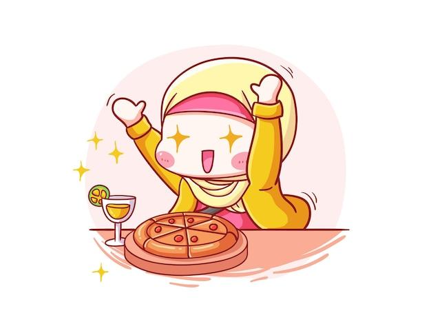 Śliczne i kawaii hidżab dziewczyna podekscytowana jedzeniem manga chibi ilustracja
