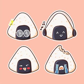 Śliczne i kawaii ilustracja postaci onigiri