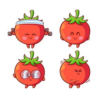 Śliczne i kawaii pomidory zestaw naklejek z różnymi czynnościami i ekspresją
