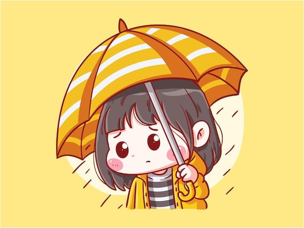 Śliczne i kawaii smutna dziewczyna stojąca pod parasolem na ilustracji manga chibi w deszczowy dzień