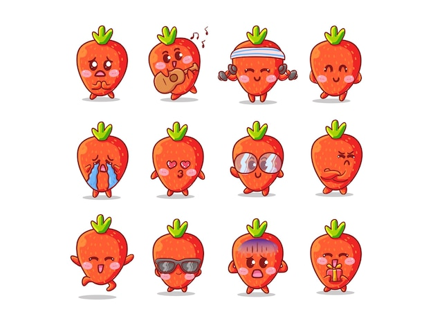 Śliczne i kawaii truskawka zestaw ilustracji naklejki z różnymi działaniami i wyrażeniem dla maskotki