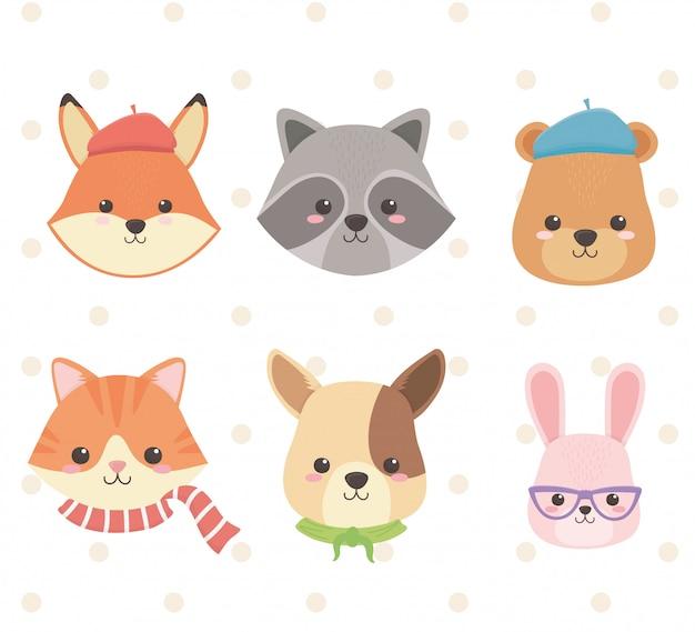 Śliczne i małe zwierzęta grupują postacie