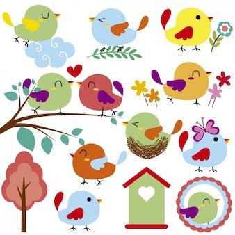 Śliczne i szczęściem ptaki