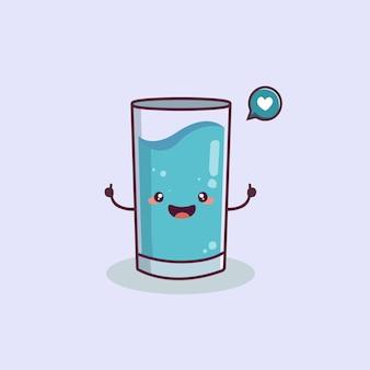 Śliczne i szczęśliwe szkło kreskówka maskotka charakter światowy dzień wody