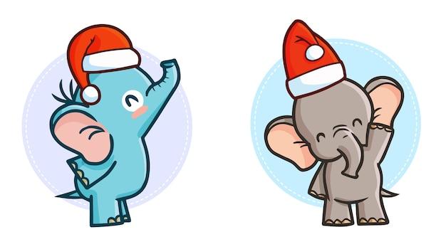 Śliczne i zabawne kawaii dwa słonie w czapce mikołaja na boże narodzenie
