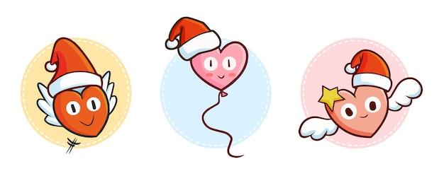 Śliczne i zabawne kawaii latające serca w czapce mikołaja na boże narodzenie